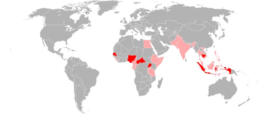 Zika_virus ve světě k r. 2012