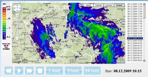 Počasí in radar na mapě